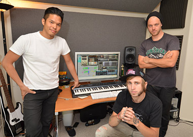 Ed, Justin and Josh of The Glitch Mob in their studio