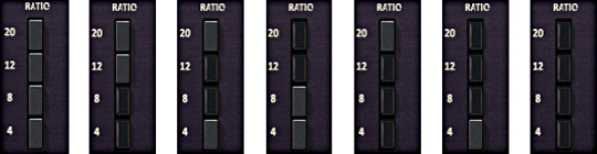 The possible ratio button combinations for the 1176 Limiter Collection.