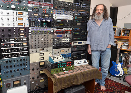 Scheps and his analog recording gear, including five 1176 compressors.