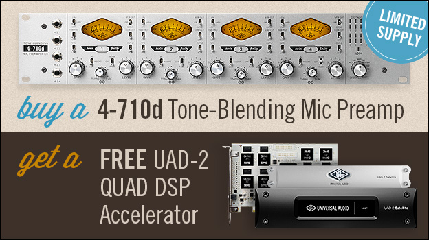 Buy a new UA 4-710d Tone-Blending Mic Preamp and get a UAD-2 QUAD DSP Accelerator FREE!