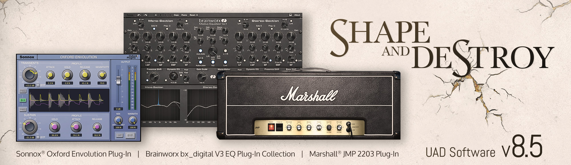 UAD Software Version 8.5, featuring the Marshall JMP 2203 Amplifier, Sonnox Oxford Envolution, and Brainworx bx_digital V3 EQ Plug-In Collection.
