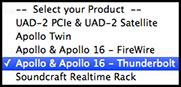 UAD Thunderbolt Software selection
