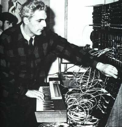 Bob Moog on a Moog Modular System