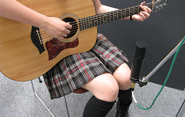Large-diaphragm condenser mic aimed at the 12th fret
