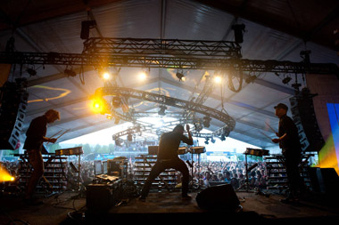 The Glitch Mob on stage at the Sasquatch Music Festival