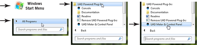 Launching the UAD Meter & Control Panel: Windows